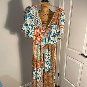 Patchwork maxi dress w/ shorts